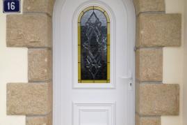 porte d'entrée en pvc avec vitrage intégré